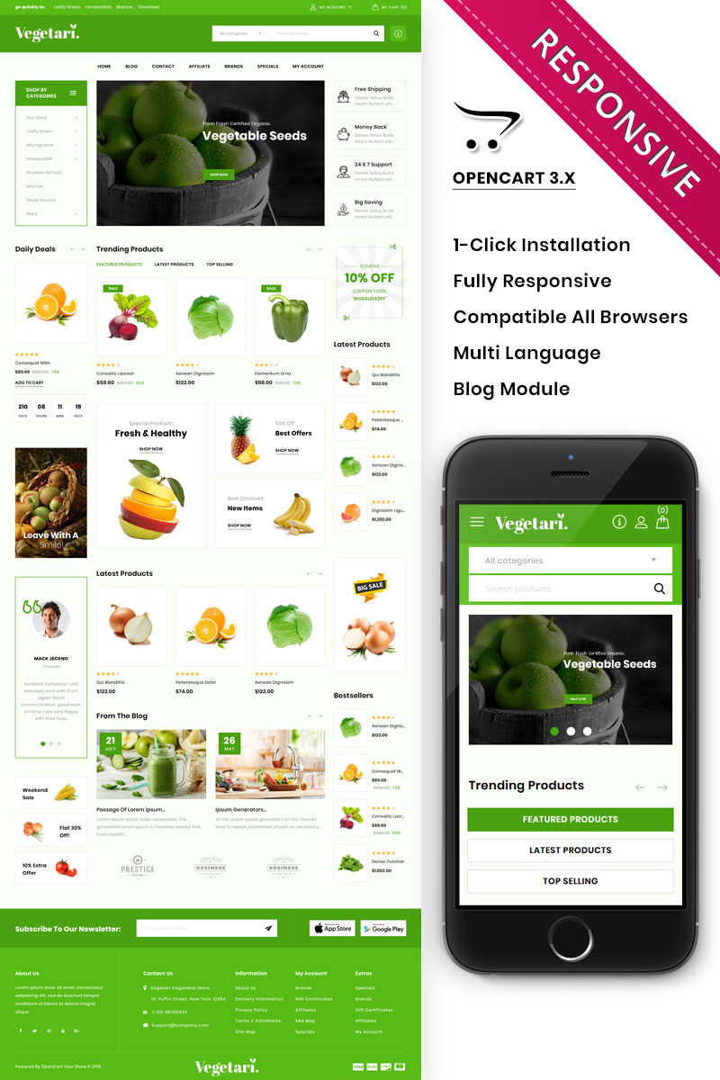 """Vegetari - The Big Grocery Store"" Responsive OpenCart Template №85331"