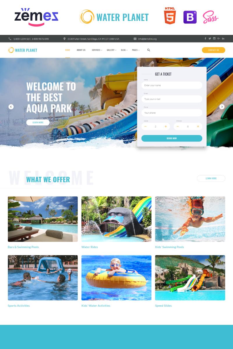 """""""Water Planet - Amusement Park Creative Multipage HTML"""" modèle web adaptatif #85330"""
