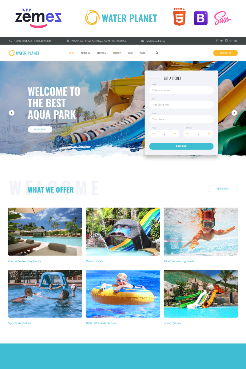 "Website Vorlage namens ""Water Planet - Amusement Park Creative Multipage HTML"" #85330"