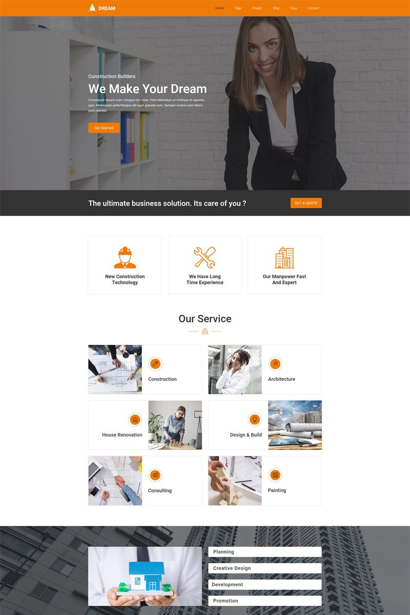 Dream-Construction Building Company Muse Template - screenshot