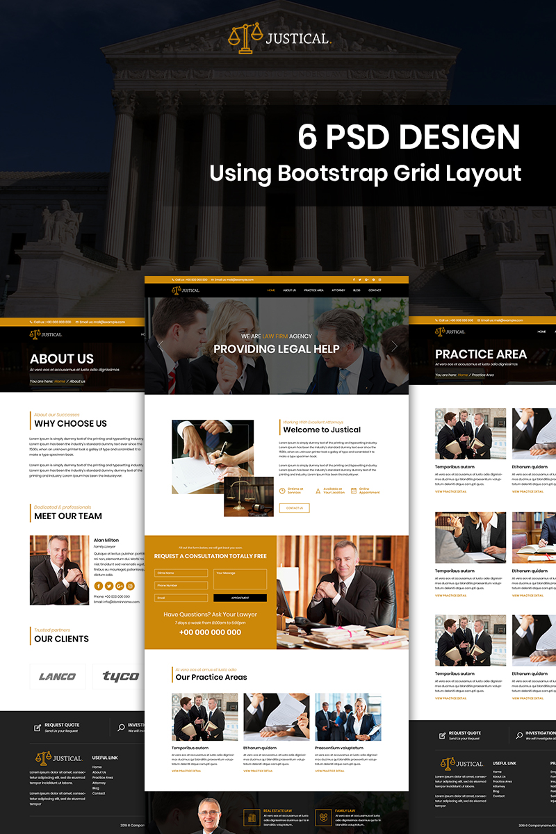"""""""Justical - Law Firm"""" Bootstrap PSD Template №85405"""