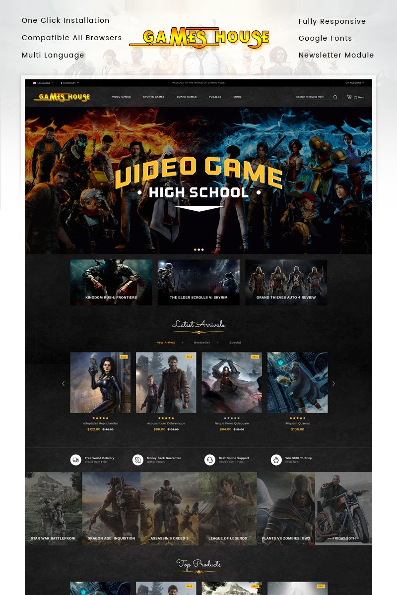 "OpenCart Vorlage namens ""Video Games Store"" #85465"