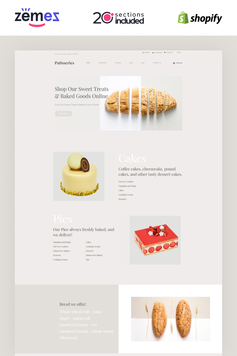 """Patisseries - Bakery Store"" - адаптивний Shopify шаблон №85486"