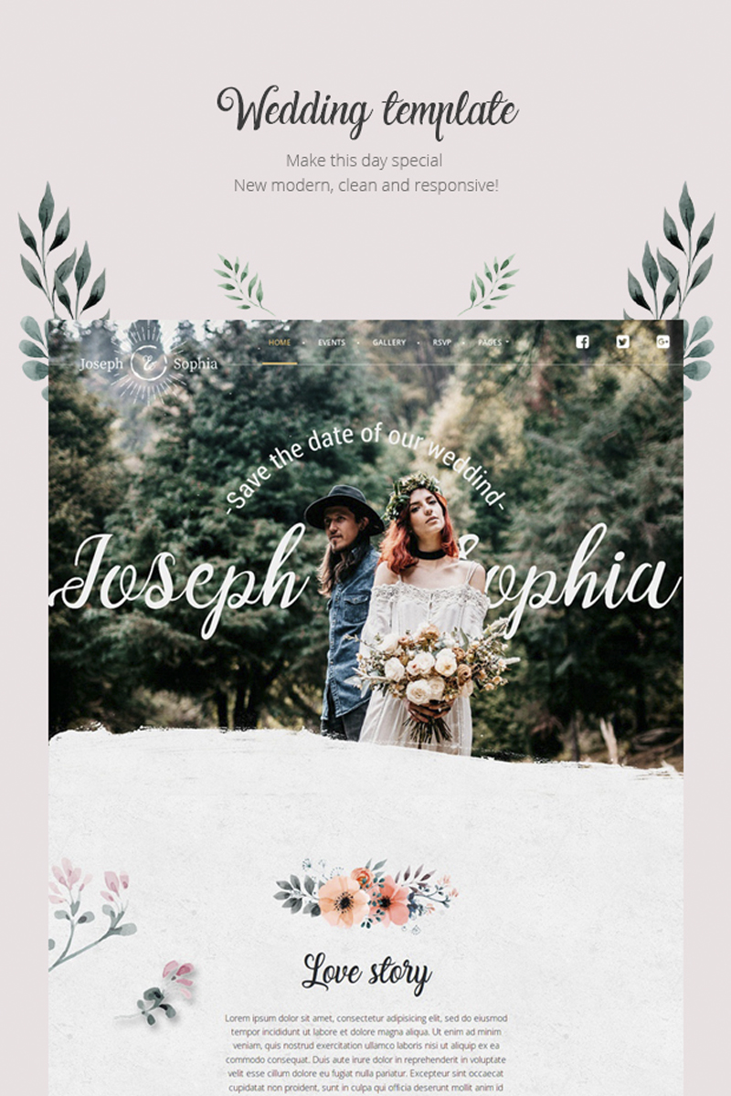 "Responzivní WordPress motiv ""QueenFlowers - Wedding"" #85470 - screenshot"