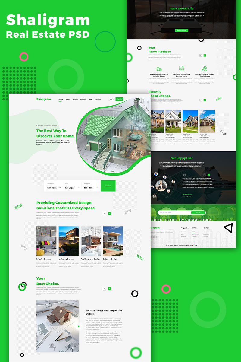 Shaligram Real Estate One Page PSD Template