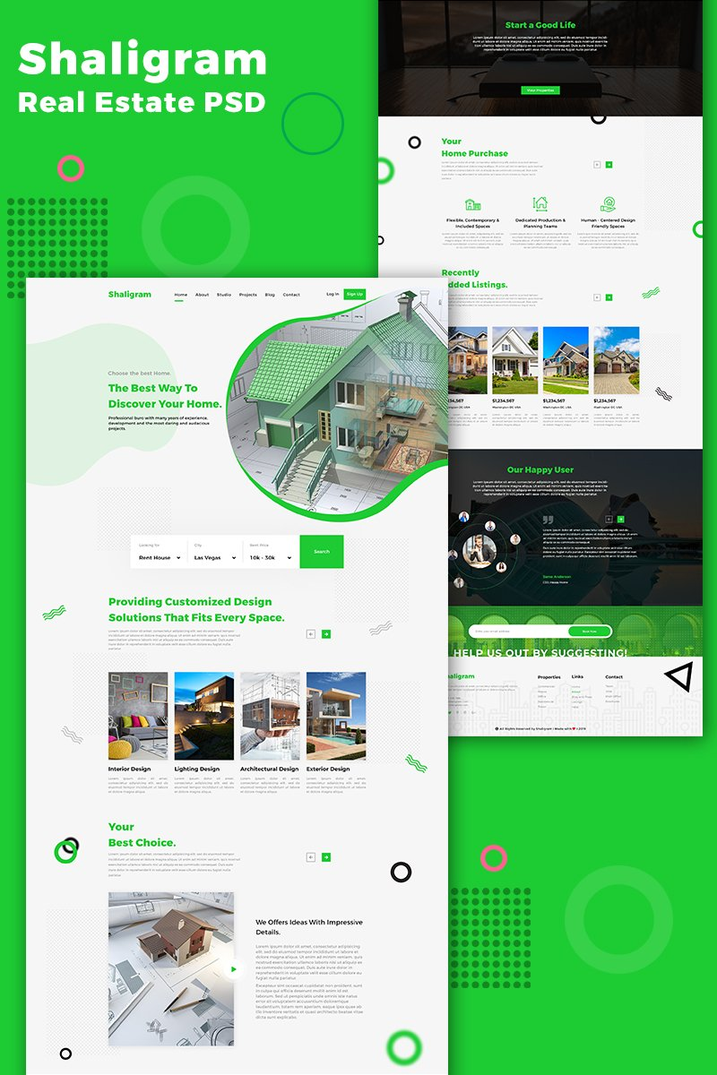 Shaligram Real Estate One Page Template Photoshop №85406