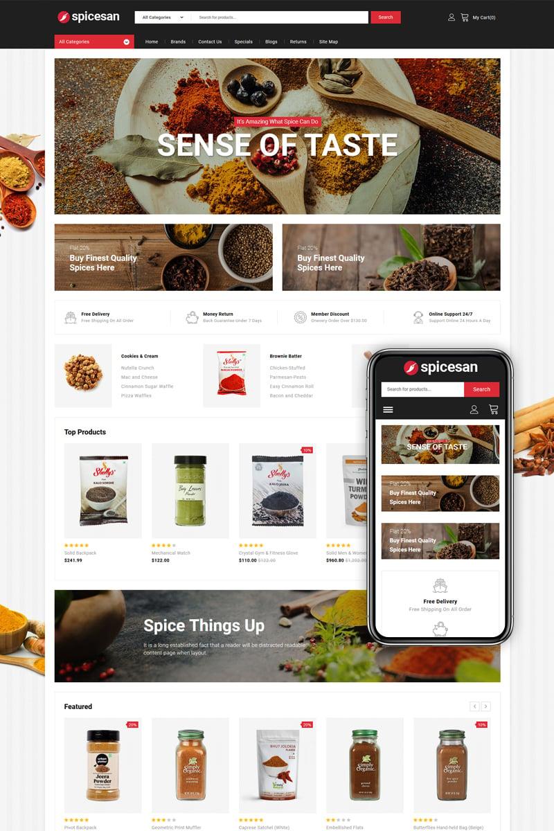 """Spicesan - Supermarket Store"" 响应式OpenCart模板 #85407"