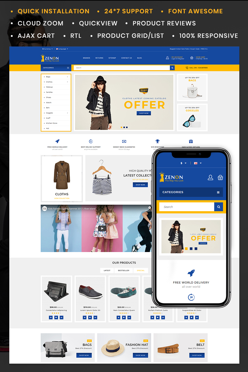 """Zenon Fashion Store"" Responsive OpenCart Template №85400"
