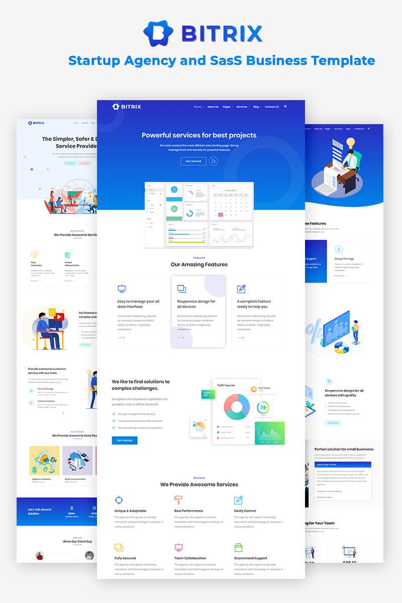 """Bitrix - Startup Agency and SasS Business"" modèle web  #85561"