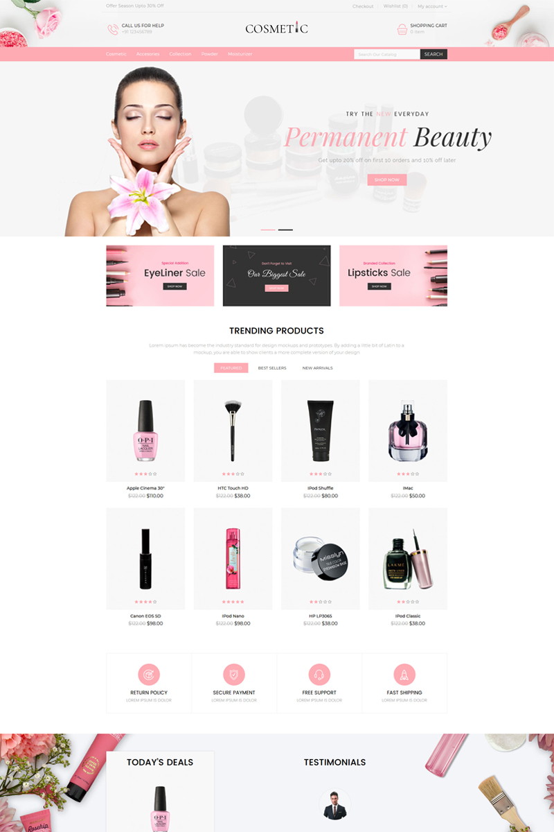 """Cosmetics Store Responsive"" - адаптивний OpenCart шаблон №85559"