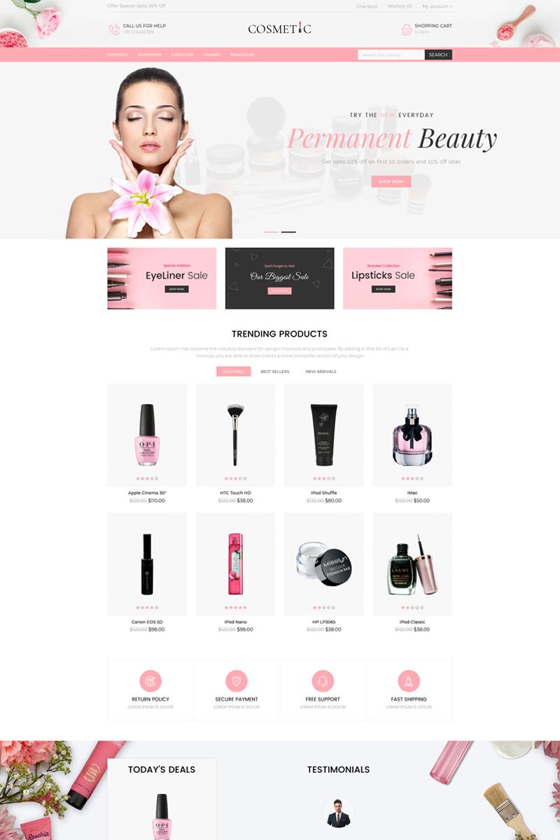 """Cosmetics Store Responsive"" 响应式OpenCart模板 #85559"
