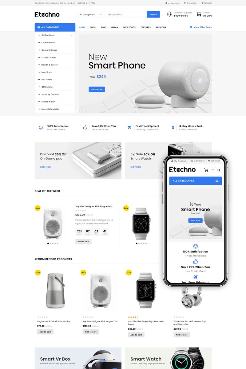 """""""Etechno - Multipurpose Store"""" - адаптивний WooCommerce шаблон №85564"""