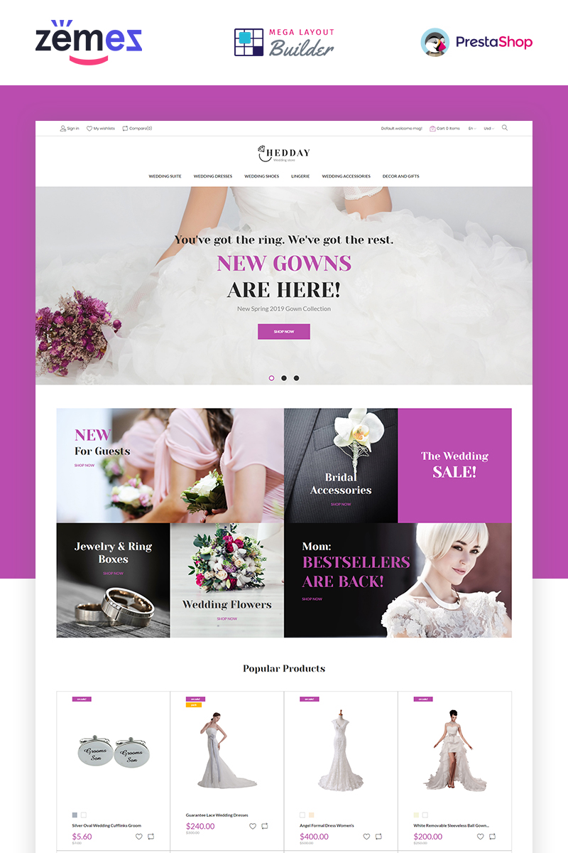 """Hedday- Wedding Responsive Template"" thème PrestaShop  #85591"