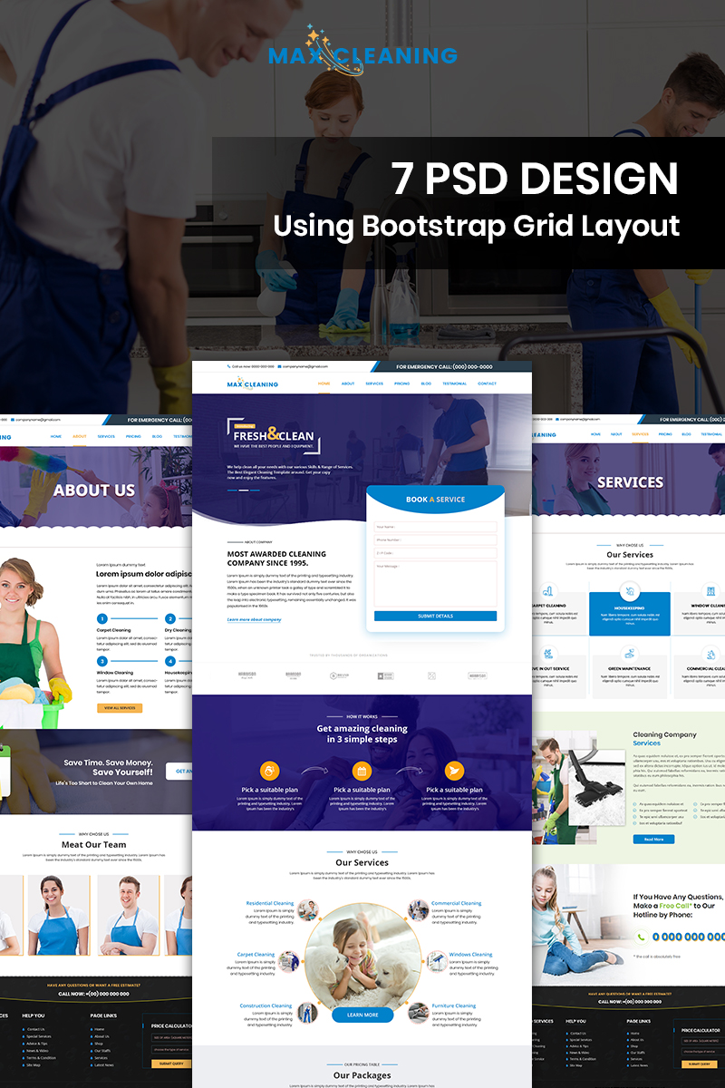 """Modello PSD Bootstrap #85568 """"Max Cleaning - Cleaning Services"""""""