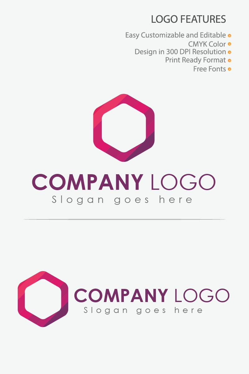 Purple Color Polygon Logo Template