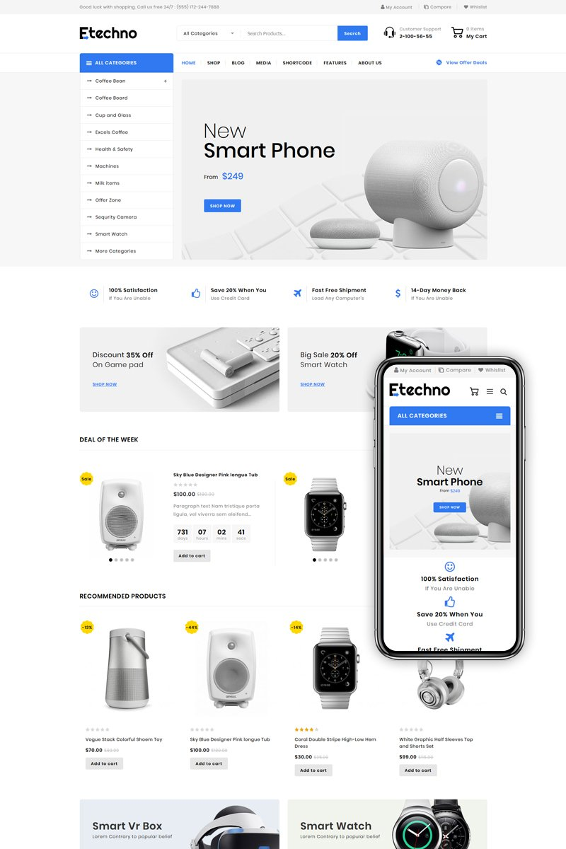 Responsivt Etechno - Multipurpose Store WooCommerce-tema #85564
