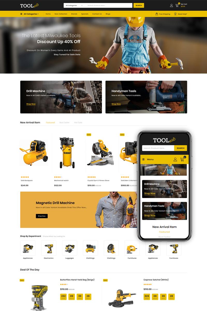 Reszponzív Tools Arts - Power Tools Store OpenCart sablon 85560 - képernyőkép