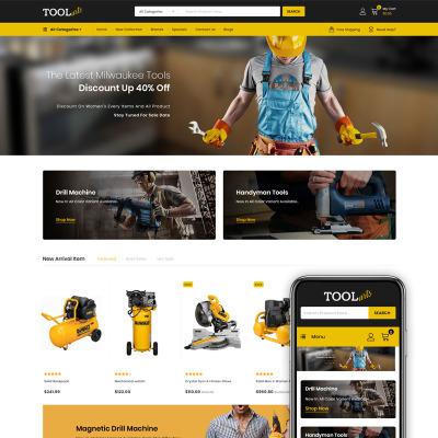 "Tema OpenCart Responsive #85560 ""Tools Arts - Power Tools Store"" #85560"