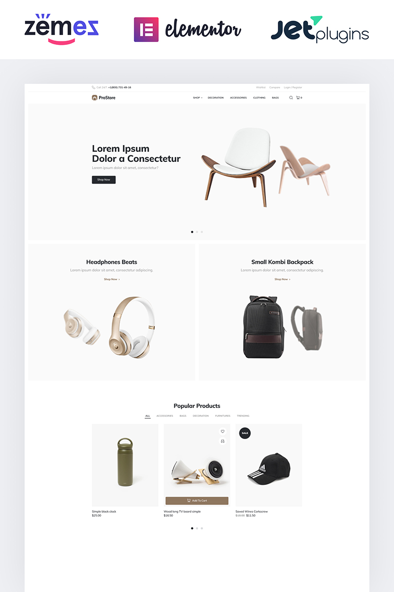 "Tema WooCommerce ""ProStore - Clean Store template for WooCommerce with Elementor"" #85599"