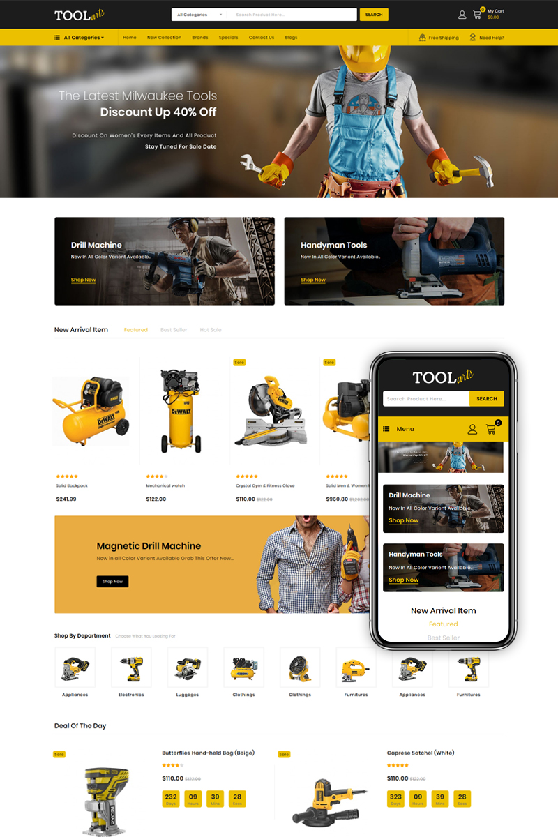 """Tools Arts - Power Tools Store"" Responsive OpenCart Template №85560 - screenshot"