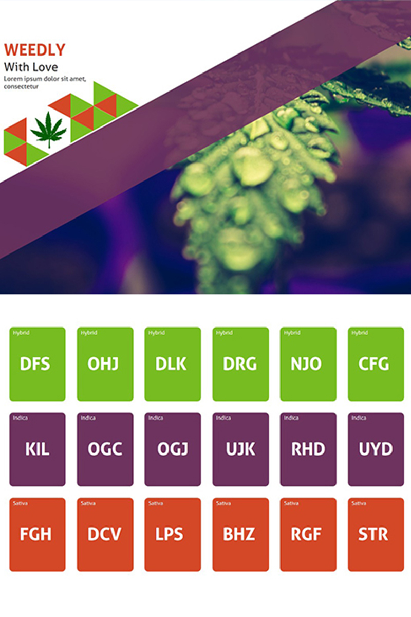Szablon PowerPoint Weedly Medical Cannabis #85600