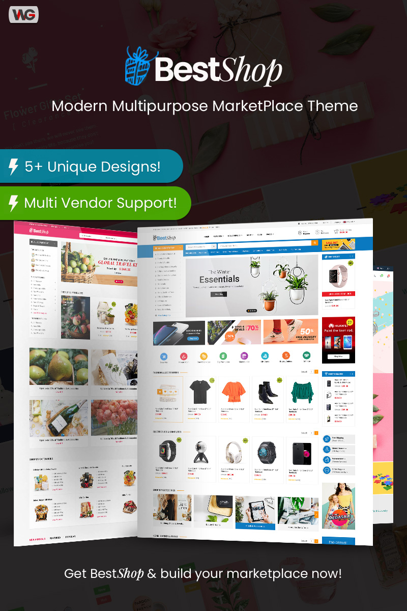 """BestShop - Multi Vendor MarketPlace"" 响应式WooCommerce模板 #85734"