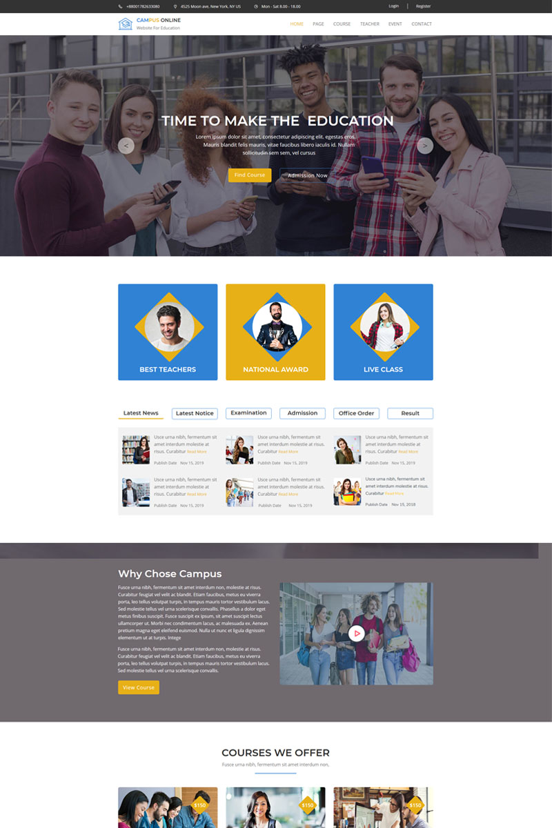 Campus-Education & Course Muse Template - screenshot