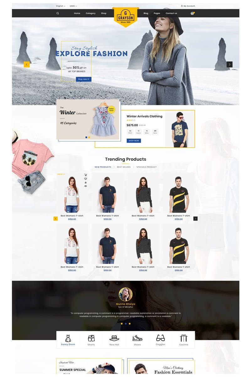 """Gray_fashion"" - адаптивний OpenCart шаблон №85751 - скріншот"