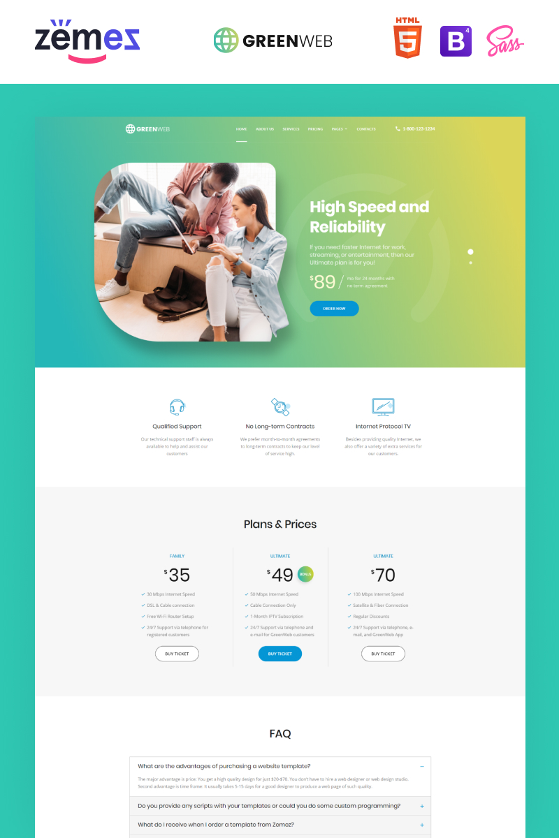 Green Web - Internet Provider Multipage Creative HTML Website Template