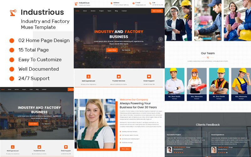 """Industrious - Industry And Factory"" Premium Muse Template №85783"