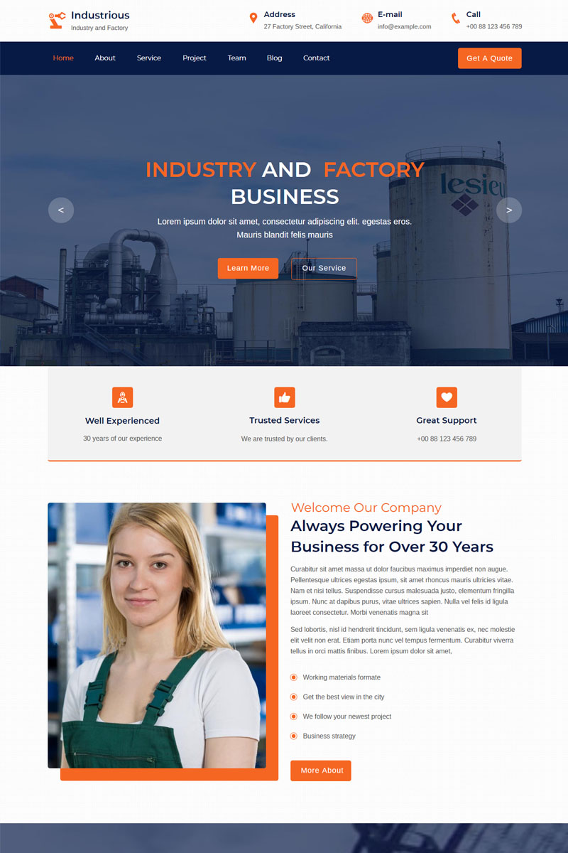 """""""Industrious - Industry And Factory"""" Premium Muse Template №85783"""