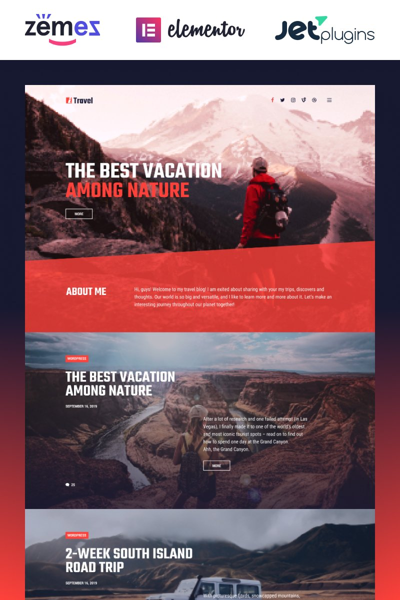 ITravel - Trendy Travel Blog Website Template for Elementor builder Tema WordPress №85752 - captura de tela
