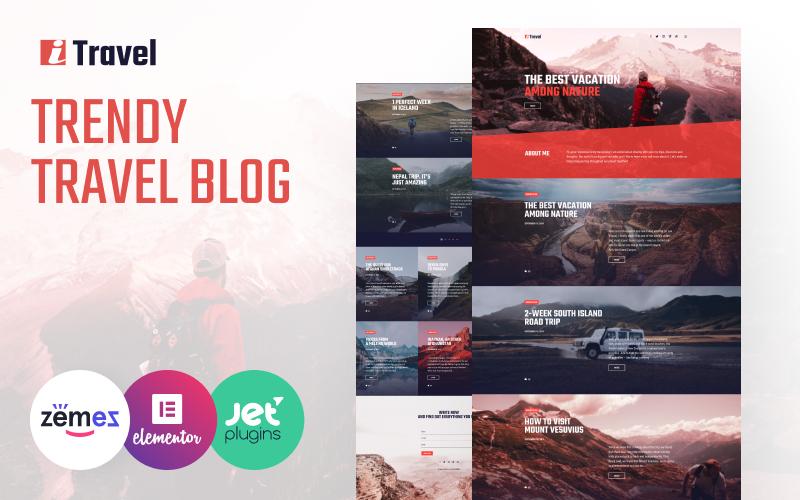 """ITravel - Trendy Travel Blog Website Template for Elementor builder"" 响应式WordPress模板 #85752"
