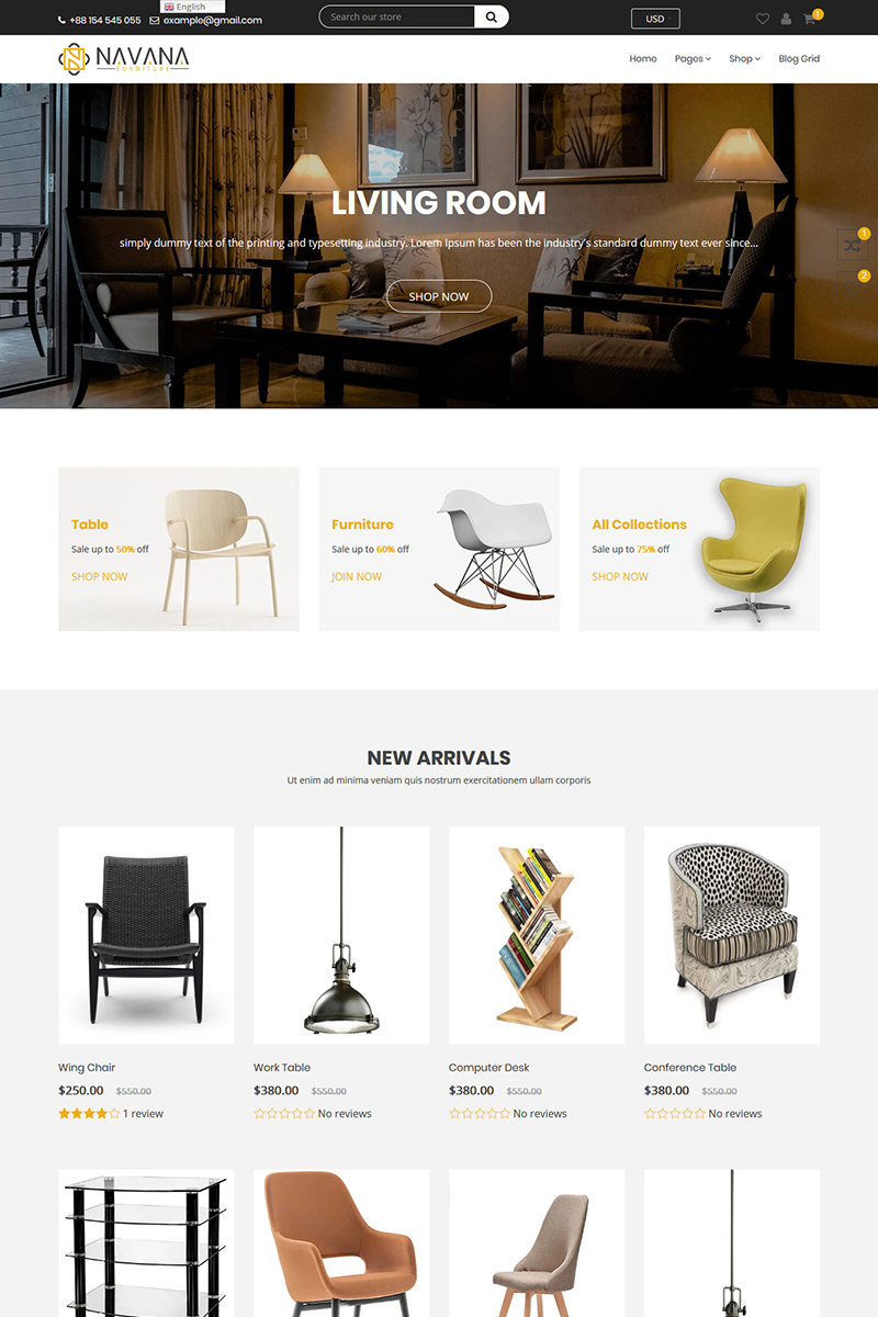 """Navana Furniture - Interior"" 响应式Shopify模板 #85750"