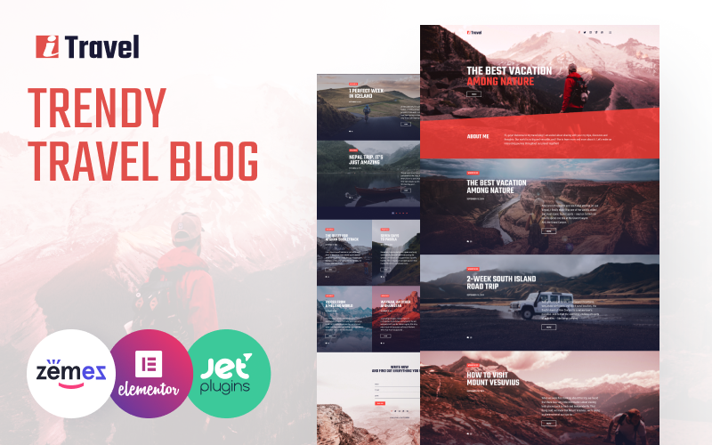 Reszponzív ITravel - Trendy Travel Blog Website Template for Elementor builder WordPress sablon 85752