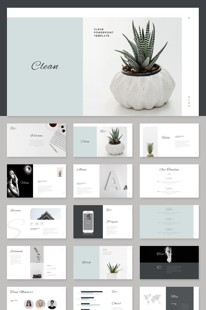 """Stylish Minimal"" PowerPoint Template №85770"