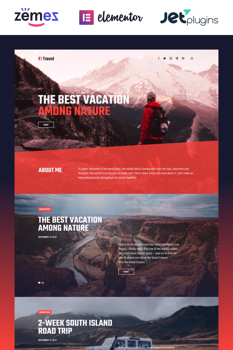 "Tema WordPress Responsive #85752 ""ITravel - Trendy Travel Blog Website Template for Elementor builder"""
