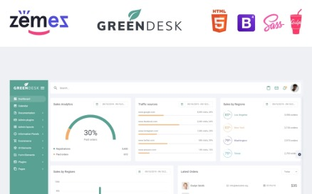 GreenDesk - Multipurpose Responsive Clean Dashboard Admin Template