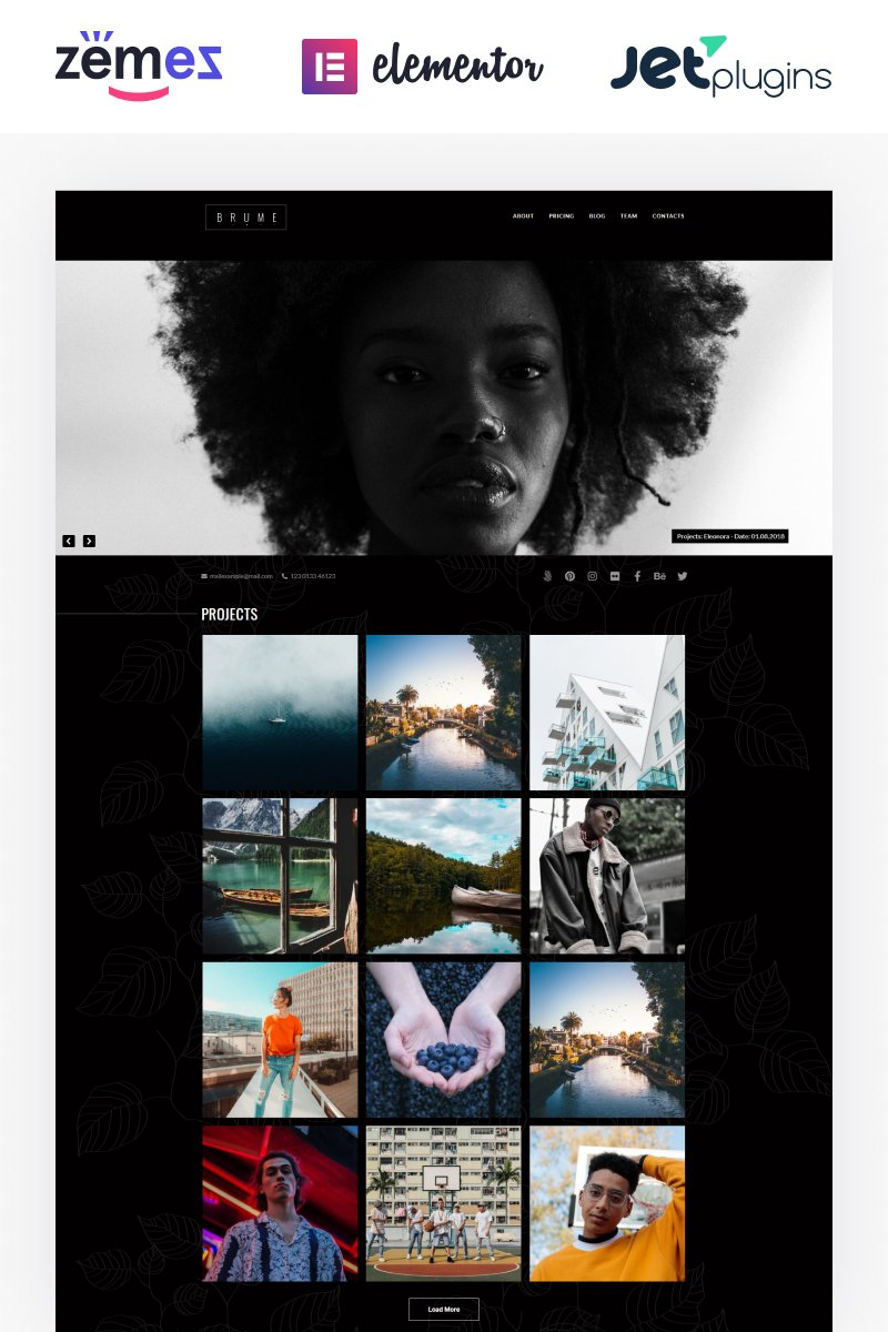 """Brume - Photo Portfolio with Elementor Builder"" thème WordPress adaptatif #85842"