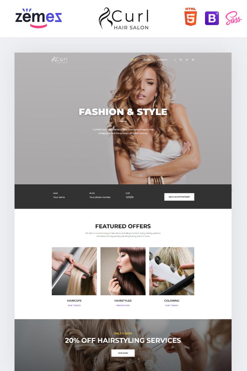 """""""Curl - Hair Salon Elegant HTML"""" - адаптивний Шаблон цільової сторінки №85843 - скріншот"""