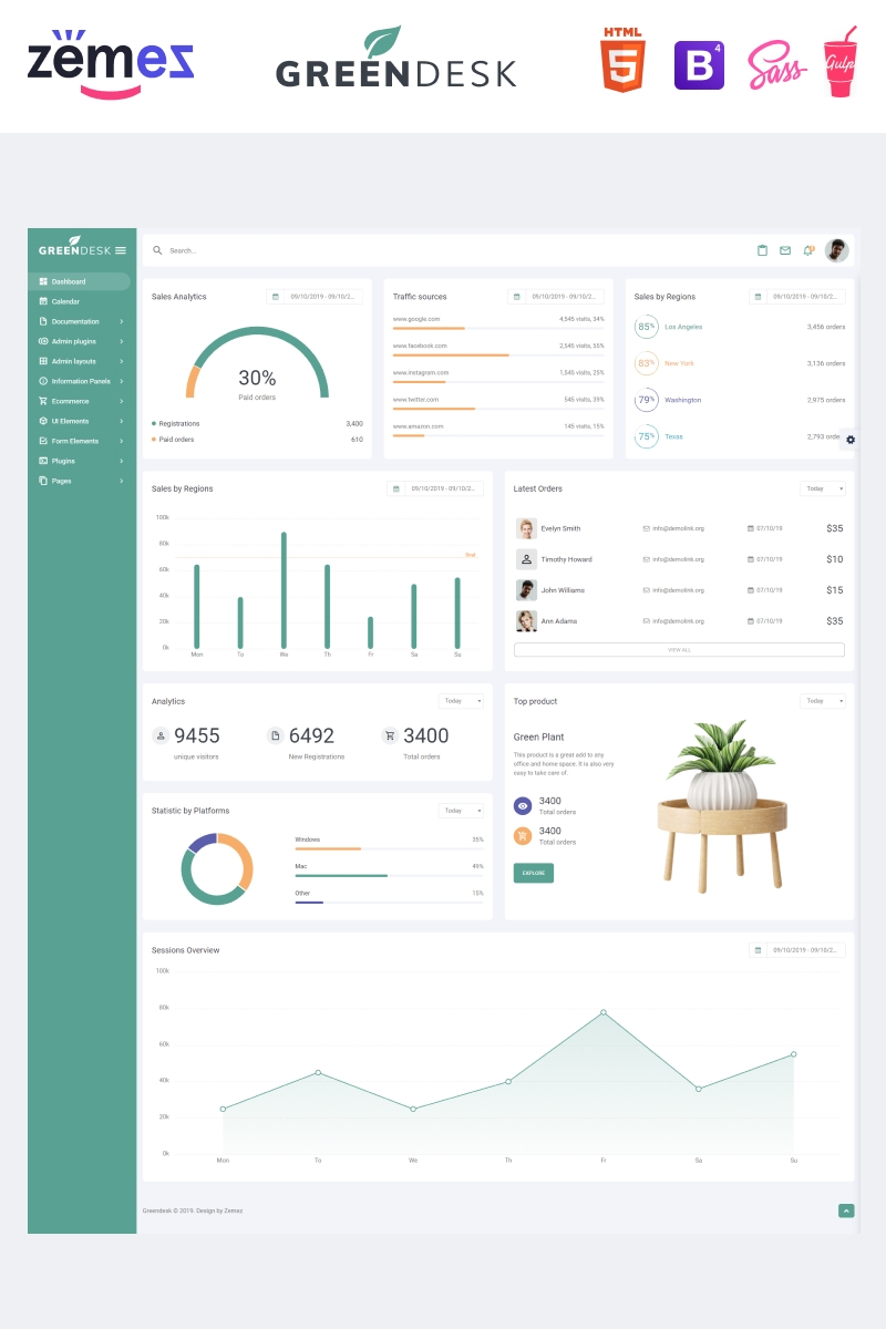 """GreenDesk - Multipurpose Responsive Clean Dashboard"" modèle Admin adaptatif #85841"