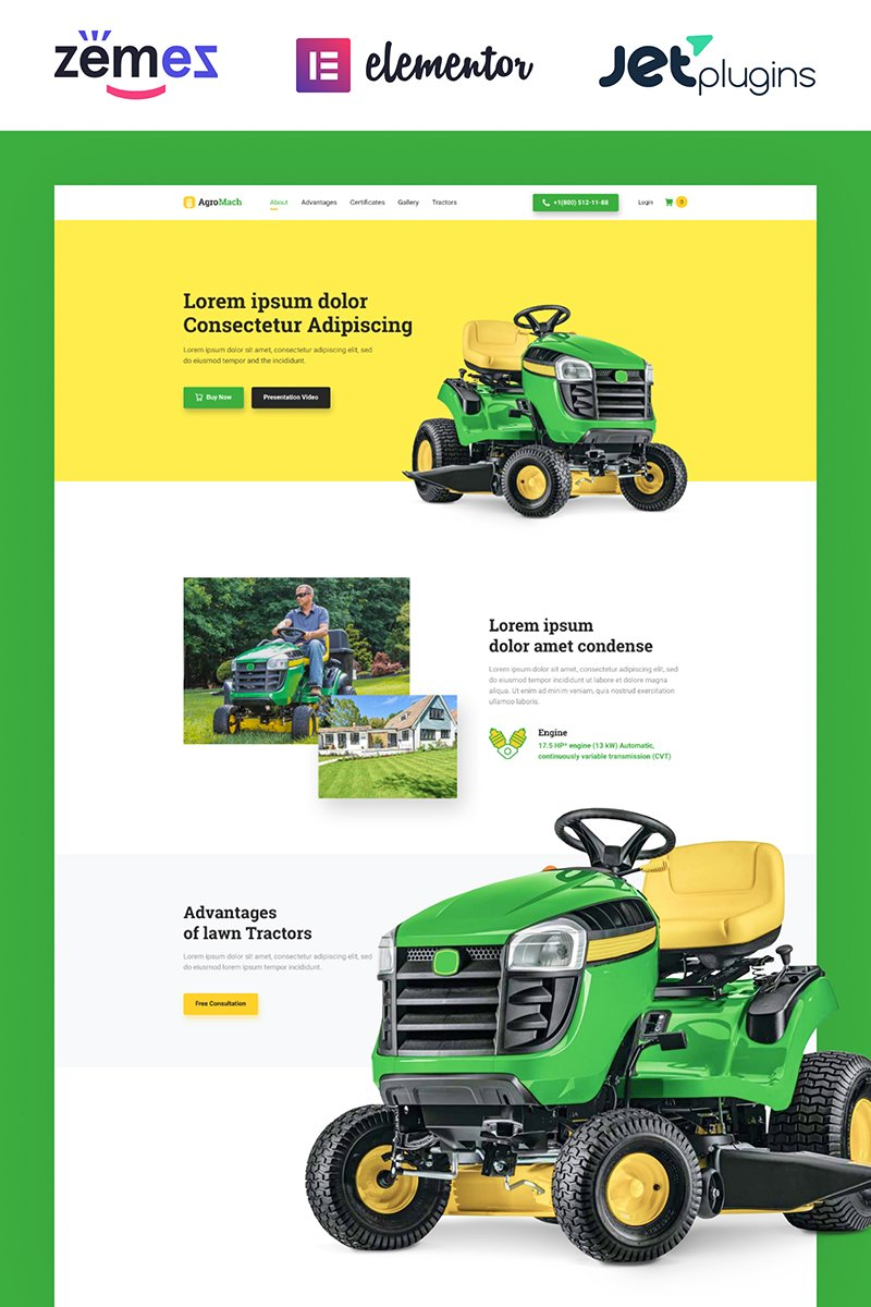 """""""AgroMach - Agricultural Machinery with the Online Store"""" 响应式WooCommerce模板 #85949"""