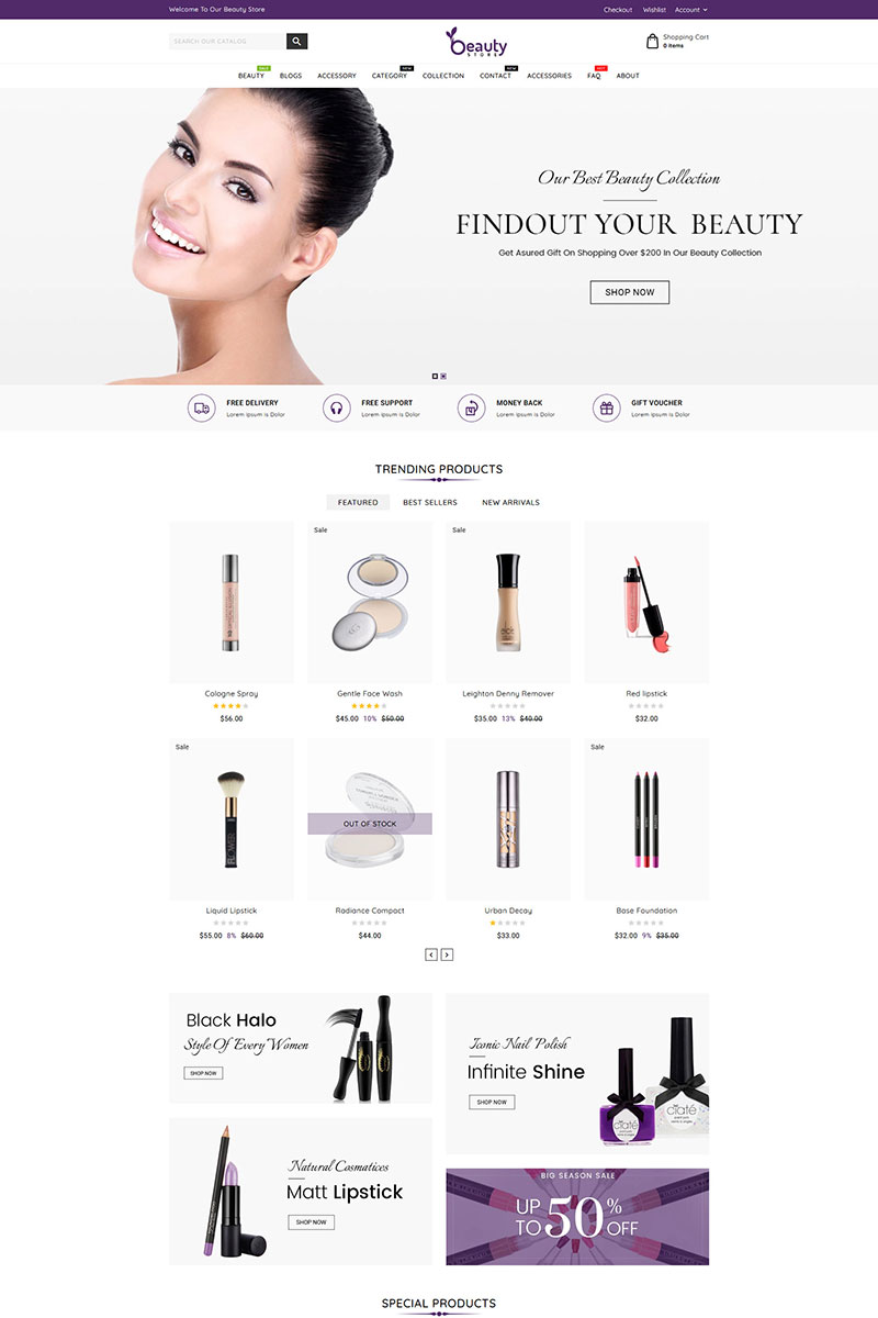 """Beauty Store Cosmetics"" 响应式Shopify模板 #85914"