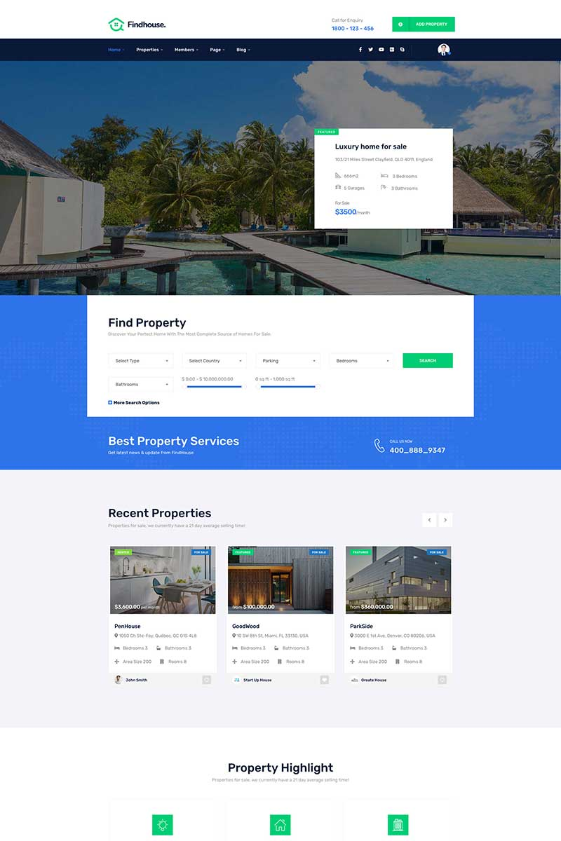 """Findhouse - Real Estate"" Bootstrap WordPress thema №85912"