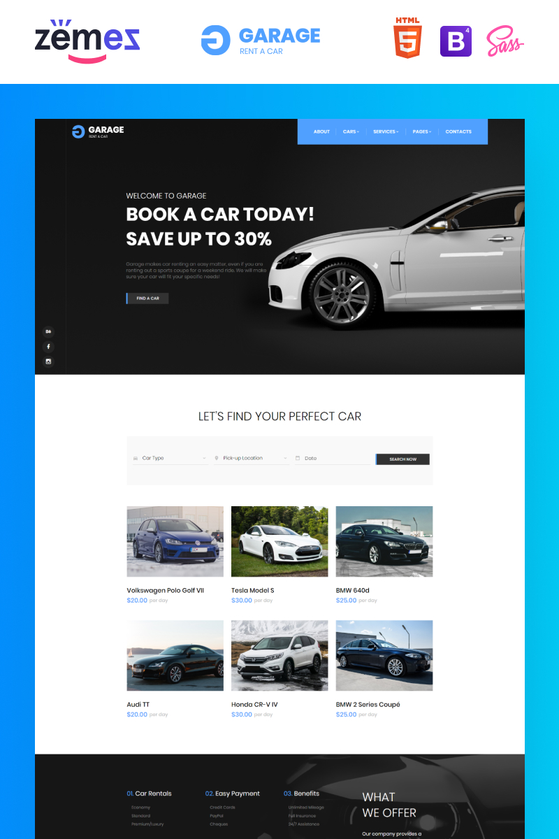 """Garage - Car Rental Classic Responsive"" 响应式网页模板 #85967"