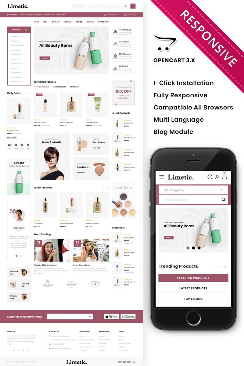 Limetic - The Cosmetic Store Template OpenCart №85947