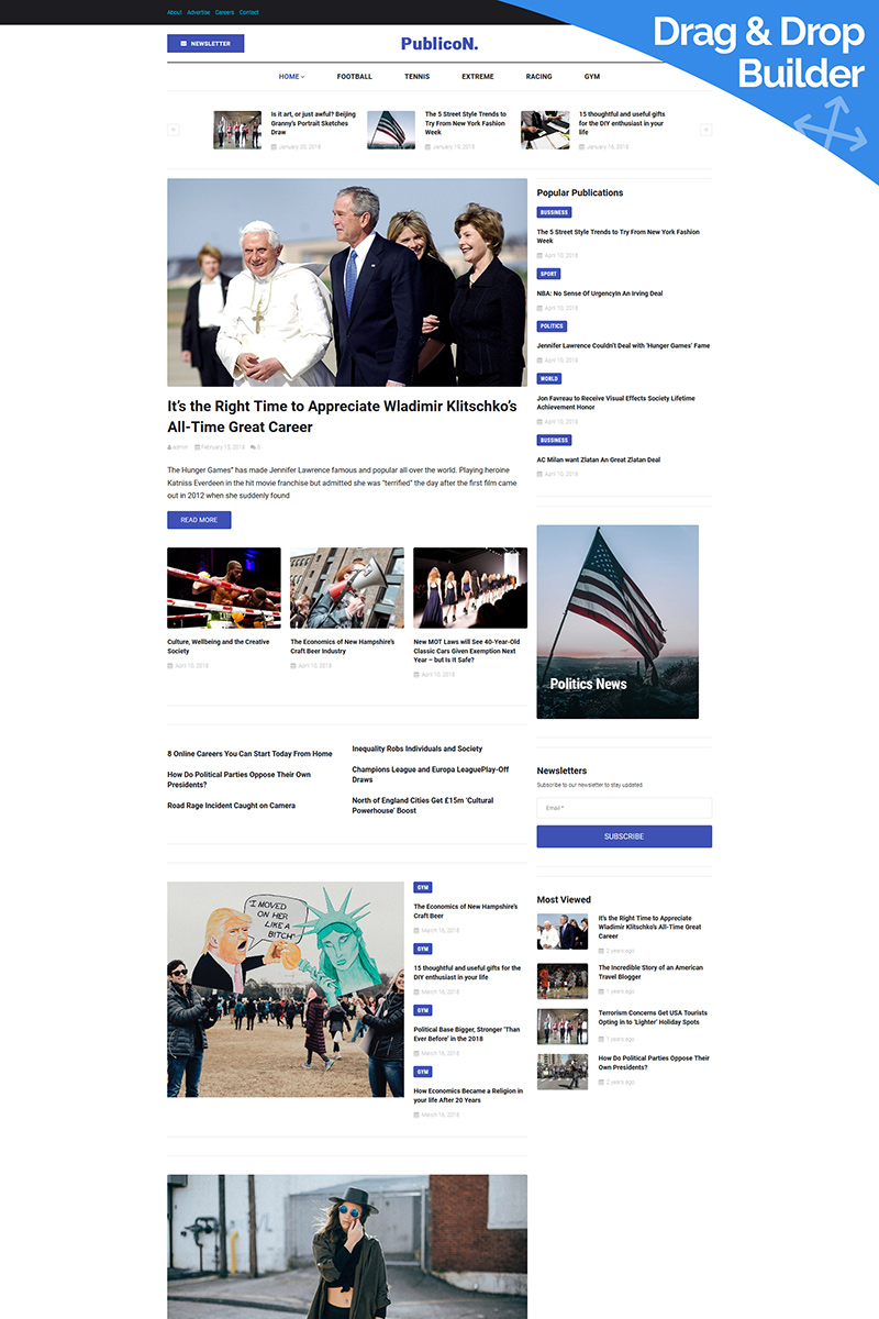 "Moto CMS 3 Template namens ""Publicon - Newspaper"" #85913 - Screenshot"