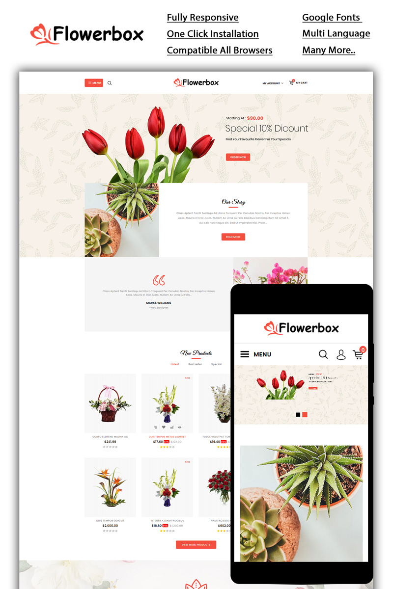 """OpenCart Vorlage namens """"Flowerbox - Online Store"""" #85944"""