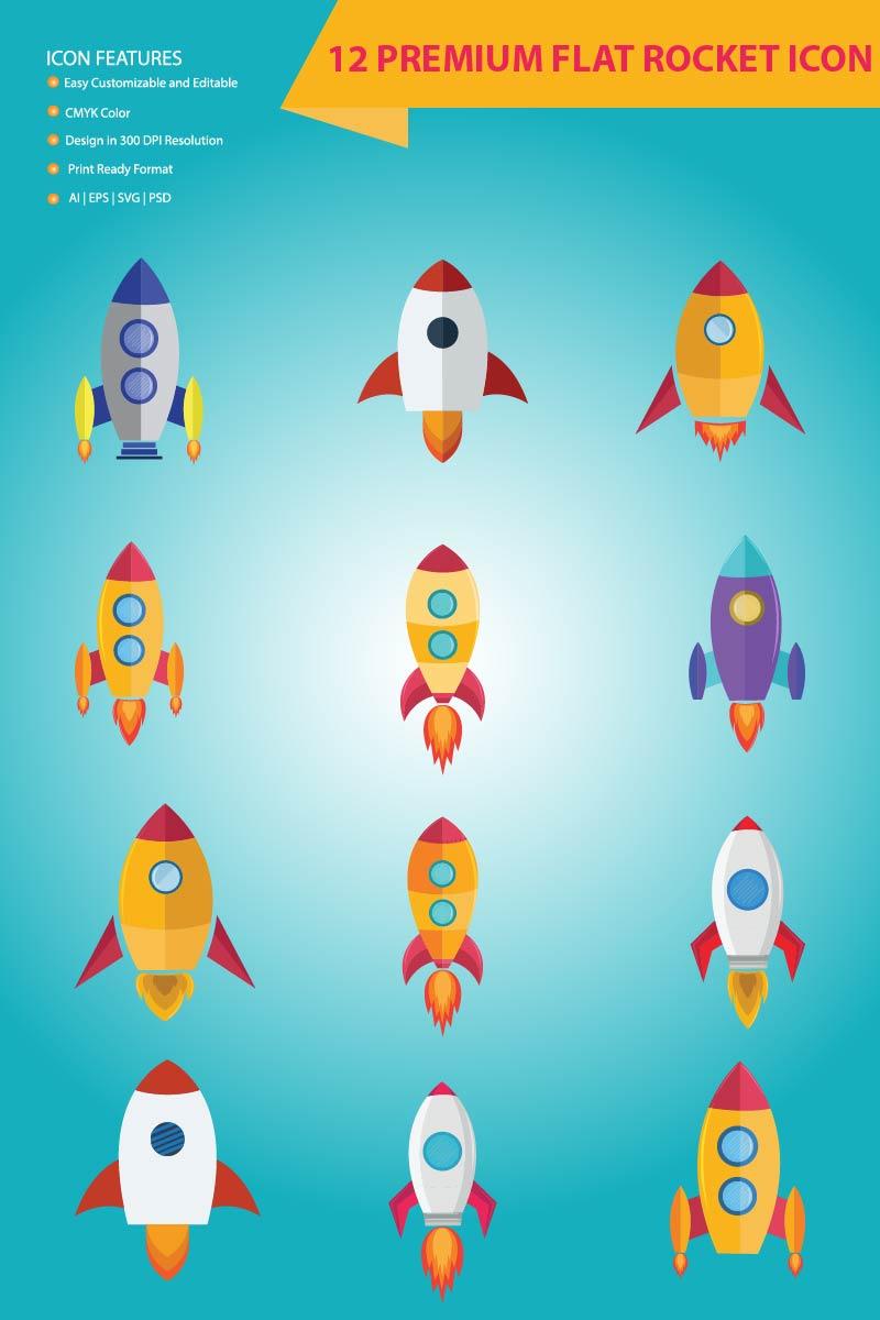 12 Premium Flat Rocket Conjunto de Ícones №85973 - captura de tela