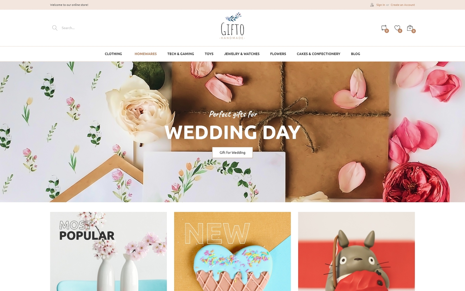 Responsivt Gifto - Gifts Store Clean eCommerce Magento-tema #85939
